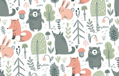 Nálepka Vector seamless pattern with hand drawn wild forest animals,