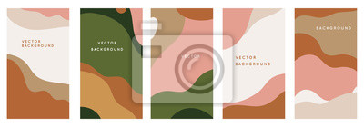 Nálepka Vector set of abstract creative backgrounds in minimal trendy style with copy space for text - design templates for social media stories