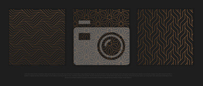 Nálepka Vector set of design elements, labels and frames for packaging for luxury products in trendy linear style.