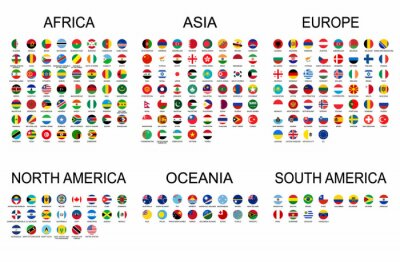 Nálepka Vector set official national flags of the world. Country round shape flags collection with detailed emblems.