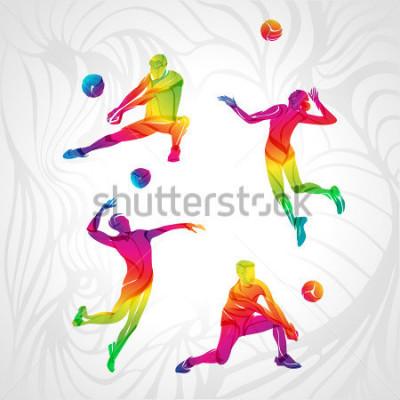Nálepka Vector volleyball silhouettes rainbow collection