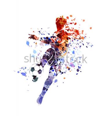 Nálepka Vector watercolor silhouette soccer player