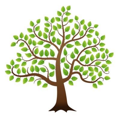 Nálepka Vector zelený strom na bílém pozadí