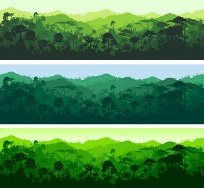 Nálepka Vektor horizontální bezešvé tropický deštný prales džungle pozadí
