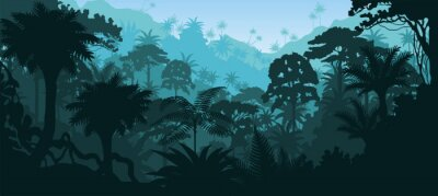 Nálepka Vektor horizontální tropický deštný prales džungle pozadí