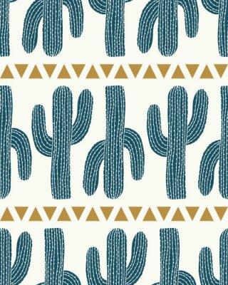Nálepka vektor kaktus pruh a trojúhelníky krém bezproblémové opakování vzoru pozadí