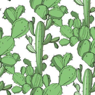 Nálepka Vektor kaktus. Zelené ryté inkoustové umění. Bezešvé pozadí vzorek. Textilní tapety tisk textury.