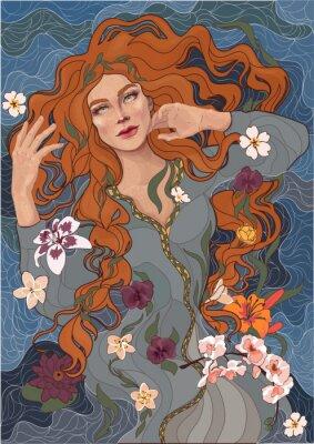 Nálepka vektor krásná rusovlasá dívka ve staromódní šaty, vlny řeky, vody a květin