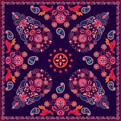Nálepka Vektor Paisley květinový vzor čtvercový