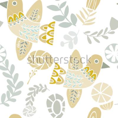 Nálepka Vektor pastelové folklórní ptáci a květiny bezešvé vzor na bílém pozadí. Ideální pro řemesla, tkaniny, balicí papír, tapety