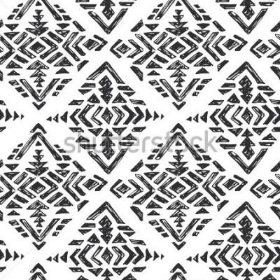 Nálepka Vektor ručně kreslený etnický bezešvé vzorek s kmenovými abstraktními prvky v černé bílé doodle skici styl