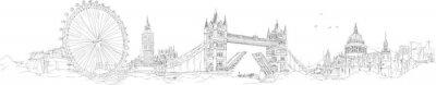 Nálepka vektor skica ruční kreslení panoramatický london siluetu