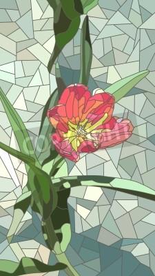 Nálepka Vektor vertikální mozaika s velkými buňkami červené květy tulipánů na zelenou.