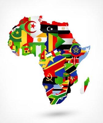 Nálepka Vektorová mapa Afriky s vlajkami a umístěním na mapě světa
