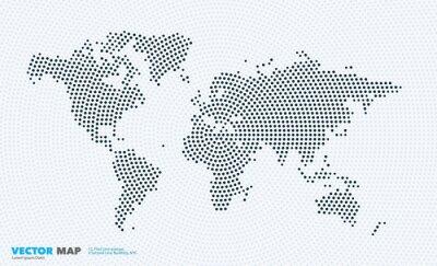 Nálepka Vektorová mapa světa s kruhy, body, body pro obchodní šablony