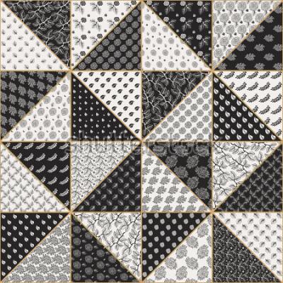 Nálepka Vektorové abstraktní bezešvé patchwork vzor z černé a světlé béžové trojúhelníky s krajkou květinové ozdoby, stylizované růže květiny a listy. Zlatá konturová tenká linie. Textilní tisk. Batikova barv