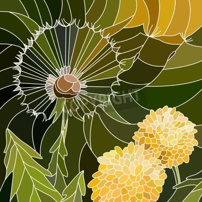 Nálepka Vektorové abstraktní mozaika s velkými buňkami skupiny pampelišky na zeleném.