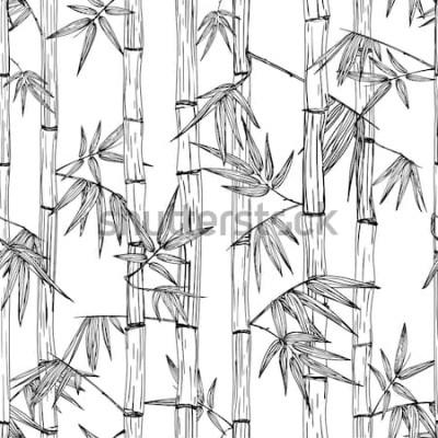 Nálepka Vektorové bezešvé bambusový lesní vzor. Černá a bílá ručně tažené skica pozadí. Design pro módní textilní tisk, asijské lázně a masáže, kosmetický balíček, nábytkové materiály.