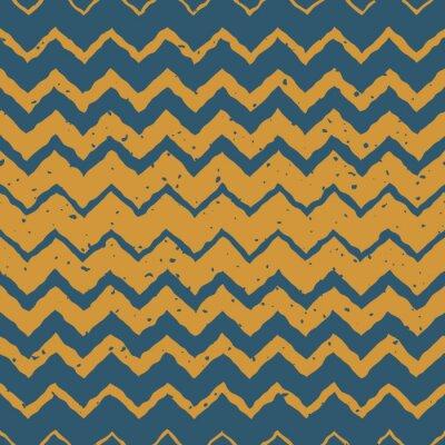 Nálepka Vektorové bezešvé Modrá Žlutá barva ručně kreslenými Horizontal Gradient polotóny ZigZag pokřivené linie Výstřední Ethnic Pattern