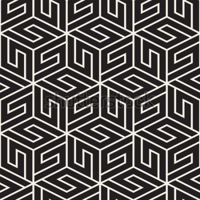 Nálepka Vektorové bezešvé mřížky vzor. Moderní stylová textura s černobílými mřížovinami. Opakující se geometrická mřížka. Jednoduchý design pozadí.