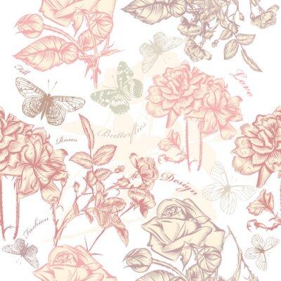 Nálepka Vektorové bezešvé tapety vzor s růžemi