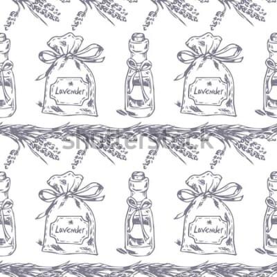 Nálepka Vektorové bezešvé vzor. Levandule téma Provence. Vzorek s grafickým levandulovým sáčkem a olejem. Digitální nakreslené ilustrace v Lila barvě. Vintage vzor prvků levandule izolovaných na bílém.