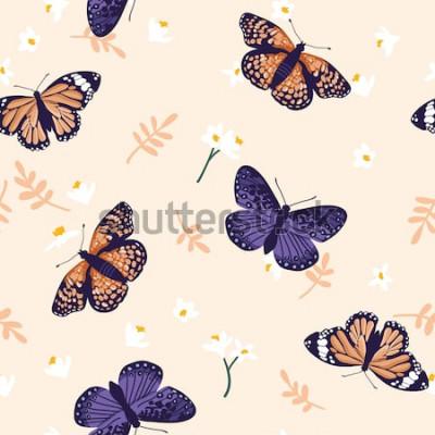 Nálepka Vektorové bezešvé vzor s jasnými motýly. Ručně tažené textury design