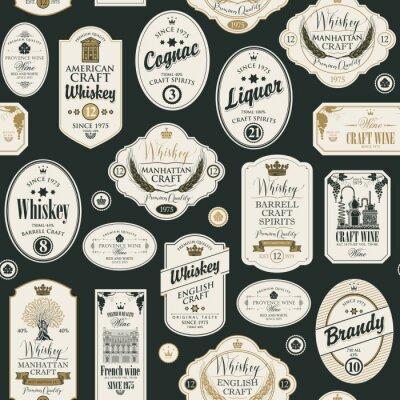 Nálepka Vektorové bezešvé vzor s koláž štítků pro různé alkoholické nápoje v retro stylu s nápisy whisky, likér, koňak, víno, brandy.
