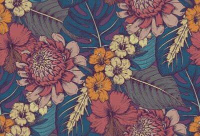 Nálepka Vektorové bezešvé vzor s kompozicemi ručně kreslených tropických květin