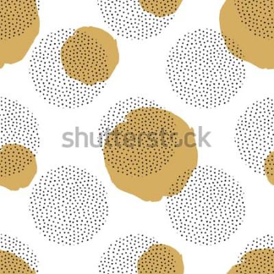 Nálepka Vektorové bezešvé vzor s kulatými tečkovanými prvky a zlaté kruhy. Módní pozadí memphis.