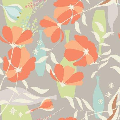 Nálepka Vektorové bezešvé vzor s květinovými prvky, jarní květiny, PO