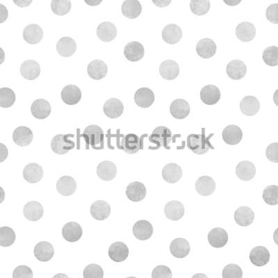 Nálepka Vektorové bezešvé vzor šedé akvarel kruhů na bílém pozadí