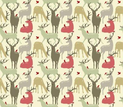 Nálepka vektorové bezproblémové vzorek s jeleny a ptáků