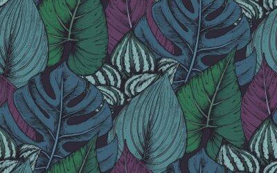 Nálepka Vektorové bezproblémové vzorek s kompozicemi ručně kreslených tropických rostlin