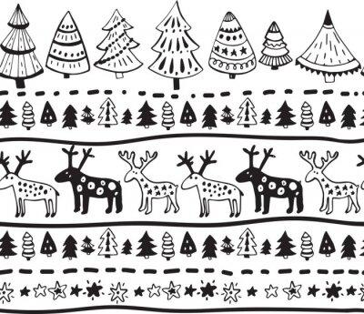 Nálepka Vektorové bezproblémové vzorek s rukou vypracován vánoční prvky