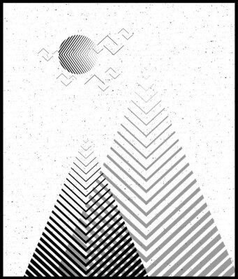 Nálepka Vektorové geometrické trojúhelník pozadí, abstraktní hory.Při konceptuálním pozadí, s horami.Platba design, s minimálními prvky.Použijte pro kartu, plakát, brožura, banner.Černá a bílá Vnitřní tisk.