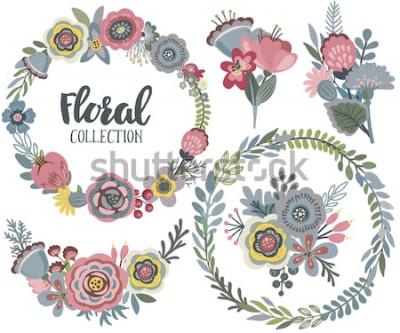 Nálepka Vektorové grafiky sada s krásnými květinami, květinový věnec, kytice. Barevné kolekce pro pozdrav, uložit data karty, svatební pozvánky