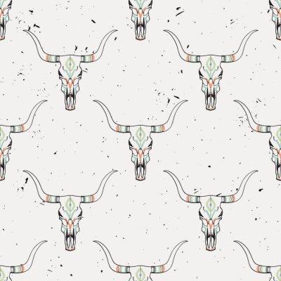 Nálepka Vektorové grunge bezproblémové vzorek s býčí lebkou a etnické ornament