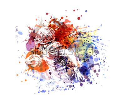 Nálepka Vektorové ilustrace barevné ilustrace americký fotbalista