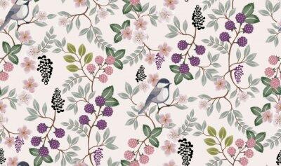 Nálepka Vektorové ilustrace bezešvé květinový vzor s roztomilé ptáky na jaře na svatbu, výročí, narozeniny a party. Design pro banner, plakát, karta, pozvání a zápisníku