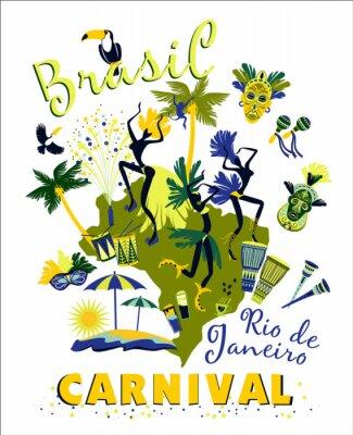 Nálepka Vektorové ilustrace brazilského karnevalu.