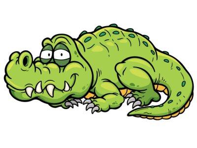 Nálepka Vektorové ilustrace cartoon krokodýl