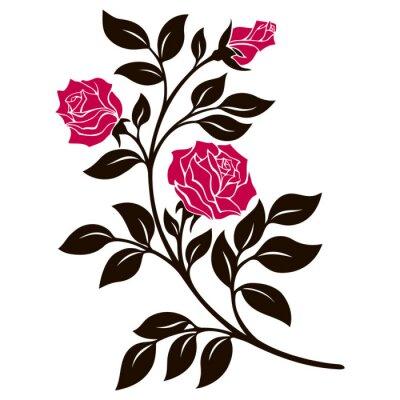 Nálepka vektorové ilustrace, dekorační prvek, černá a bílá růže větev s červenými květy