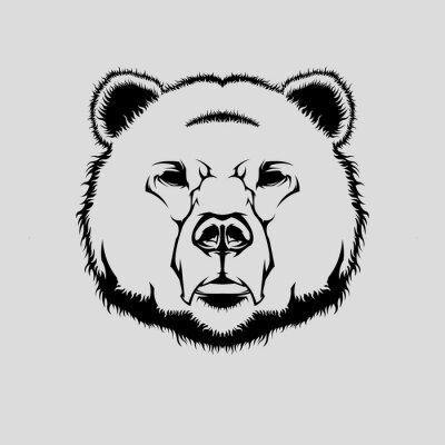 Nálepka Vektorové ilustrace grizzly medvěda hlavy