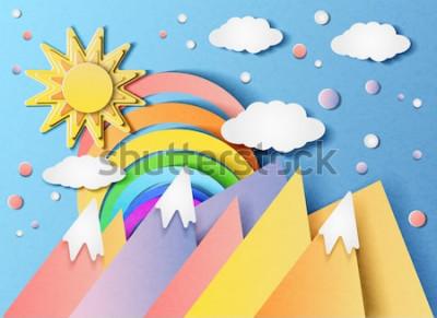 Nálepka Vektorové ilustrace krásné krajiny se sluncem, duhou, mraky a hory. Ve stylu řezaného papíru.