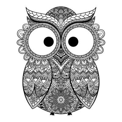 Nálepka Vektorové ilustrace ornamentální sova.