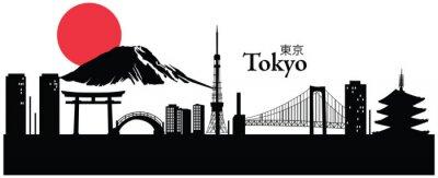 Nálepka Vektorové ilustrace panoráma města Tokio, Japonsko