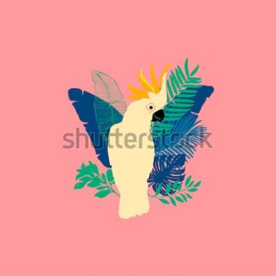Nálepka Vektorové ilustrace - papoušek kakadu, exotické ptáky, tropické květiny, palmové listy, rajský pták