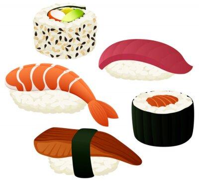 Nálepka Vektorové ilustrace různých sushi.