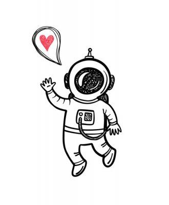 Nálepka Vektorové ilustrace s doodle astronaut